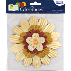 "Blue Hills Studio™ ColorStories™ Handmade Paper Stacked Flowers Yellow: Yellow, Paper, 6"", Dimensional, (model BHS10209), price per each"