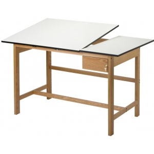 Alvin Split Top Solid Oak White Top Drafting Table