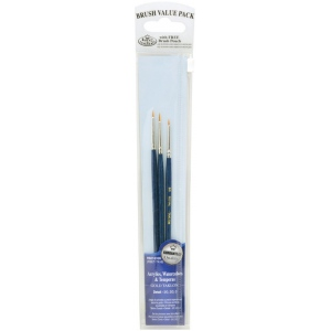 Royal & Langnickel® 9100 Series  Zip N' Close™ Dark Blue 3-Piece Brush Set 9: Short Handle, Taklon, Detail, Acrylic, Tempera, Watercolor, (model RSET-9109), price per set