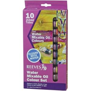 Reeves™ Water Mixable Oil 10-Color Set: Multi, Tube, 22 ml, Oil, (model 8190110), price per set