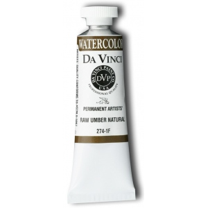 Da Vinci Artists' Watercolor Paint 37ml Raw Umber Naphthol: Brown, Tube, 15 ml, Watercolor, (model DAV274-1F), price per tube