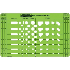 "Rapidesign® Pipe Fitting Template: 5"" x 8"" x .030"", Mechanical, (model 49R), price per each"