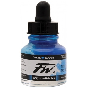 FW Liquid Artists' Acrylic Ink 1 oz. Process Cyan: Blue, Bottle, Acrylic, 1 oz, (model FW160029120), price per each