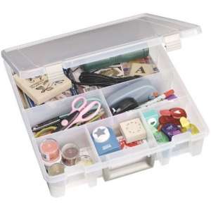 "Artbin® Super Satchel™ Deep Compartmented Storage Case: Clear, Plastic, 15""l x 14""w x 3 1/2""h, (model 9001AB), price per each"