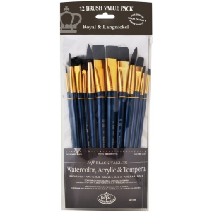 Royal & Langnickel® 9300 Series  Zip N' Close™ 12-Piece Black Taklon Brush Set 1: Short Handle, Taklon, Angular, Bright, Fan, Flat, Round, Acrylic, Tempera, Watercolor
