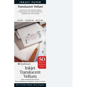 "Strathmore® 8.5"" x 11"" Inkjet Printable Translucent Vellum 50-Pack: White/Ivory, Sheet, 50 Sheets, 8 1/2"" x 11"", Vellum, (model ST59-853), price per 50 Sheets"
