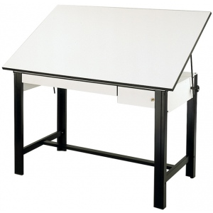 Alvin® DesignMaster Table Black Base White Top