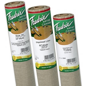 "Fredrix® PRO Series 54"" x 6yd Unprimed Linen Canvas Roll 183 Linen Smooth: White/Ivory, Roll, Linen, 54"" x 6 yd, Unprimed, (model T1087), price per roll"
