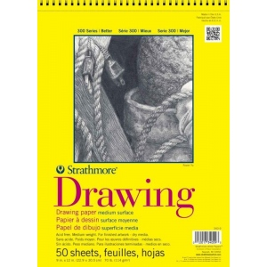 "Strathmore® 300 Series 9"" x 12"" Wire Bound Drawing Pad 25 Sheets: Wire Bound, White/Ivory, Pad, 25 Sheets, 9"" x 12"", Medium, 70 lb"