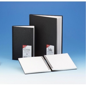 "Cachet® 7 x 10 Classic Black Wirebound Sketch Book: Wire Bound, White/Ivory, Book, 80 Sheets, 7"" x 10"", 70 lb"