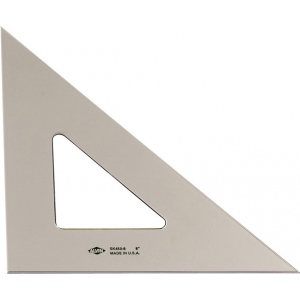 "Alvin® 10"" Smoke-Tint Triangle 45°/90°: 45/90, Black/Gray, Clear, Polystyrene, 10"", Triangle, (model SK450-10), price per each"