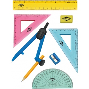Alvin® 8-Piece Geometry Set with Compass: Drawing and Geometry Set, (model FL04), price per set