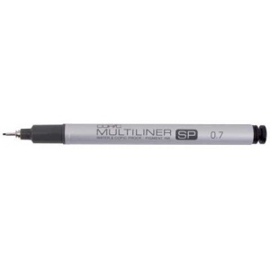 Copic® Multiliner SP (Refillable) Black Pen .7mm: Black/Gray, Pigment, Refillable, .7mm, Fine Nib, (model MLSP07), price per each