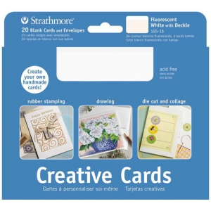 "Strathmore® 5 x 6.875 Fluorescent White/Deckle Creative Cards 20-Pack: White/Ivory, Envelope Included, Card, 20 Cards, 5"" x 6 7/8"", 80 lb, (model ST105-16), price per 20 Cards"