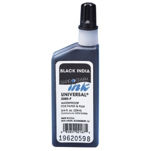 Koh-I-Noor® Universal® 8oz Drawing Ink Black: Black/Gray, Bottle, India, 8 oz, Waterproof, (model 30804-BLA), price per each