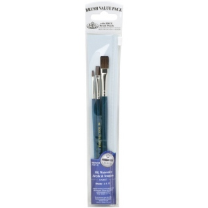 Royal & Langnickel® 9100 Series  Zip N' Close™ Dark Blue 3-Piece Brush Set 5: Short Handle, Sable, Shader, Acrylic, Oil, Tempera, Watercolor, (model RSET-9105), price per set