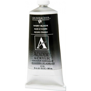 Grumbacher® Academy® Acrylic Paint 90ml Ivory Black: Black/Gray, Tube, 90 ml, Acrylic