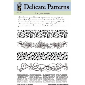 "Hot Off the Press Clear Acrylic Stamp Set Delicate Patterns: Acrylic, No, 5 1/2"" x 7"", (model HOTP1014), price per each"