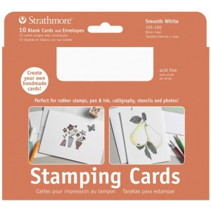 "Strathmore® Stamping Cards 10-Pack Full-size: White/Ivory, Envelope Included, Card, 10 Cards, 5"" x 6 7/8"", Smooth, 80 lb, (model ST105-190), price per 10 Cards"