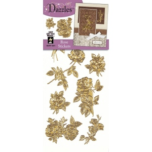 "Dazzles™ Stickers Gold Rose: Metallic, 4"" x 9"", Outline, (model HOTP1841), price per each"