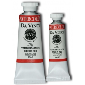 Da Vinci Artists' Watercolor Paint 37ml Bright Red: Red/Pink, Tube, 37 ml, Watercolor, (model DAV204-2), price per tube