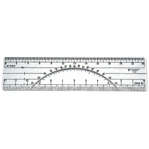 "Westcott® C-Thru® 6"" Protractor Ruler 20 and 40 Parts To The Inch: Clear, Plastic, 6"", Ruler, (model W39), price per each"
