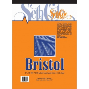 "Seth Cole 9"" x 12"" Smooth Finish Bristol Board Pad: Smooth, Pad, 12 Sheets, 9"" x 12"", 100 lb"