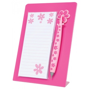 "Mishu Hot Pink Magnetic Notestation Set: Red/Pink, 50 Sheets, 2 1/4""d x 5 1/2""w x 7 1/2""h, Notepad, (model M130), price per set"