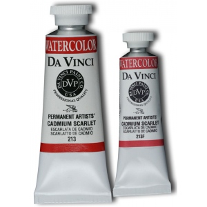 Da Vinci Artists' Watercolor Paint 37ml Cadmium Scarlet: Red/Pink, Tube, 37 ml, Watercolor, (model DAV213), price per tube