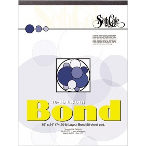 "Seth Cole 19"" x 24"" Layout Bond Paper Pad: Pad, 50 Sheets, 19"" x 24"", 20 lb, (model SC74C), price per 50 Sheets pad"