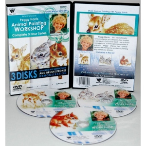 Peggy Harris's 3 Hour, 3 DVDs Set of Animal Oil Painting (Includes 3351, 3352, and 3353)