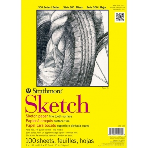 "Strathmore® 300 Series 9"" x 12"" Glue Bound Sketch Pad: Glue Bound, White/Ivory, Pad, 100 Sheets, 9"" x 12"", 50 lb"
