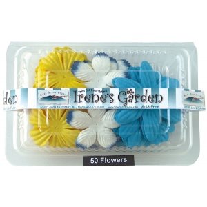 "Blue Hills Studio™ Irene's Garden™ Box O'Blooms Flower Pack Yellow/White/Royal: Multi, Paper, 2""+, Dimensional, (model BHS10753), price per pack"