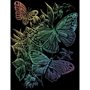 "Royal & Langnickel® Engraving Art Set Rainbow Foil Butterflies: 8"" x 10"", Multi, (model RAIN12), price per set"