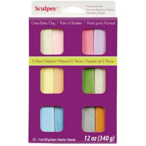 Sculpey® III Polymer Clay 12-Color Pearl & Pastel Set: Multi, Bar, Polymer, 1 oz, Oven Bake