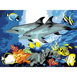 "Royal & Langnickel® Painting by Numbers™ 11 1/4 x 15 3/8 Junior Large Set Dolphins: 11 1/4"" x 15 3/8"", (model PJL10), price per set"
