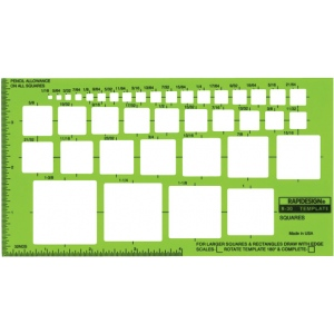 "Rapidesign® Squares Template: 1/16"" - 1 3/8"", (model 30R), price per each"