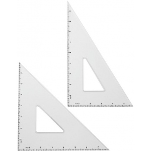 "Alvin® Triangle Set: 30/60, 45/90, Clear, Acrylic, 10"", 8"", Triangle, (model LX810G), price per each"
