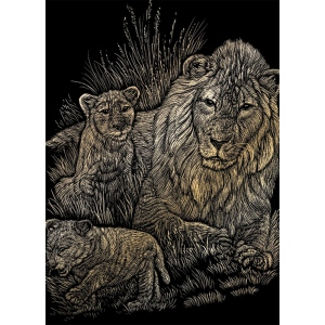 "Royal & Langnickel® Engraving Art Set Gold Foil Lion/Cubs: 8"" x 10"", Metallic, (model GOLF14), price per set"