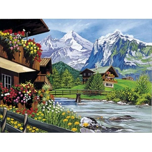 "Reeves™ Large Painting by Number Mountain Chalets: 12"" x 15 1/2"", (model PL30A), price per each"