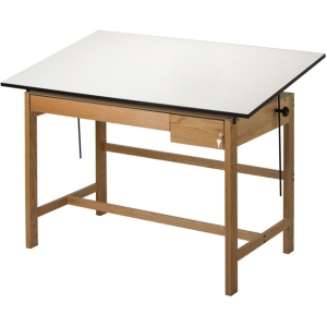 "Alvin® Titan II Solid Oak White Top Drafting Table 2 Drawers 37 1/2"" x 72"": 0 - 45, Brown, Oak, 37 1/2"", White/Ivory, Melamine, 37 1/2"" x 72"", (model WLB72), price per each"