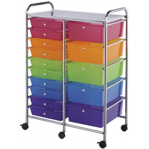 "Blue Hills Studio™ Storage Cart 15-Drawer (Standard and Deep) Multi-Colored: Multi, 13 3/4""l x 9 3/4""w x 5""h, 13 5/8""l x 9 5/8""w x 5/8""h, Plastic, 15-Drawer, 15 1/4""d x 23 5/8""w x 38""h, (model SC15MCDW), price per each"