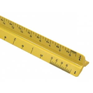 "Alvin® 110 Series 12"" High Impact Plastic Architect Triangular Scale Yellow: Yellow, Plastic, 12"", Architect, (model 110PY), price per each"