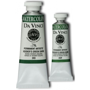 Da Vinci Artists' Watercolor Paint 15ml Hookers Green Dark: Green, Tube, 15 ml, Watercolor, (model DAV243F), price per tube