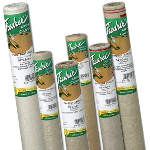 "Fredrix® PRO Series 72"" x 6yd Linen Acrylic Primed Canvas Roll 190SP Antwerp: White/Ivory, Roll, Cotton, 72"" x 6 yd, Acrylic, Primed, (model T1085), price per roll"