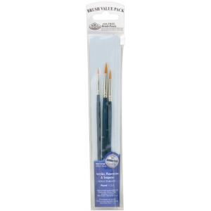 Royal & Langnickel® 9100 Series  Zip N' Close™ Dark Blue 3-Piece Brush Set 8: Short Handle, Taklon, Round, Acrylic, Tempera, Watercolor