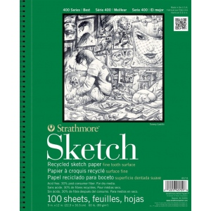"Strathmore® 400 Series 11"" x 14"" Wire Bound Recycled Sketch Pad: Wire Bound, White/Ivory, Pad, 100 Sheets, 11"" x 14"", Recycled Sketch, 60 lb, (model ST457-11), price per 100 Sheets pad"