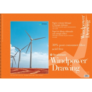 "Strathmore® Windpower™ 18"" x 24"" Medium Surface Wire Bound Drawing Pad: Wire Bound, White/Ivory, Pad, 30 Sheets, 18"" x 24"", Medium, 80 lb, (model ST643-18), price per 30 Sheets pad"