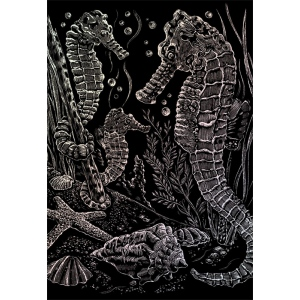 "Royal & Langnickel® Engraving Art Set Holographic Foil Sea Horses: 8"" x 10"", Metallic"