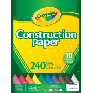 "Crayola® 9"" x 12"" Construction Paper Pack 240 Sheets: Multi, Sheet, 240 Sheets, 9"" x 12"", (model 99-3200), price per 240 Sheets"